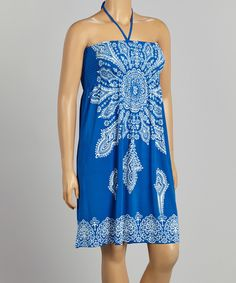 $16.99 Life and Style Fashions Turquoise Scarf Print Halter Dress - Plus by Life and Style Fashions #zulily #zulilyfinds