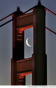 CRESENTMOONGGBRIDGE_006a_fl.jpg The Golden Gate Bridge south tower framed the morning crescent shaped moon perfectly as viewed from the Marin headlands of Sausalito. 4/5/05 San Francisco CA Frederic Larson