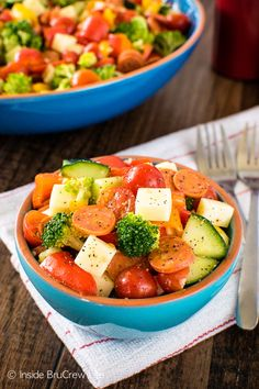 This easy Italian Veggie Salad is a delicious and healthy addition to your meal plan. Feel free to change it up with your favorite veggies.