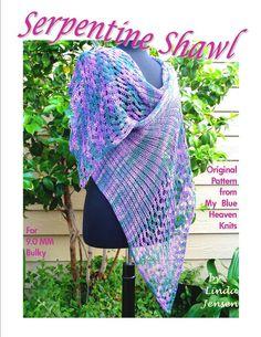 Serpentine Shawl Machine Knit Pattern by LindasCrafts on Etsy