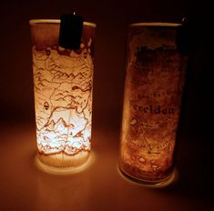 Fantasy map tealight holders--I have enough candle holders, however.  I'd like to adapt this for an actual electric light.