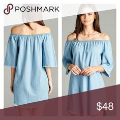 """CHAMBRAY JEAN OFF THE SHOULDER DRESS THIS BEAUTIFUL JEAN LIGHTWEIGHT OFF THE SHOULDER DRESS IS A 33"""" IN LENGTH. RUGGED EDGES AROUND SLEEVES AND HEMLINES. THE OFF THE SHOULDER FEATURES CAN BE WORN ON THE SHOULDERS. I INSPECT EVERY ITEM. I TAKE SEVERAL PHOTOS. NO TRADES PLEASE. THE DORM BOUTIQUE Dresses Mini"""
