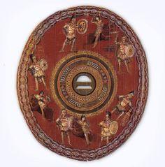Oval roman shield: clipeus / Dura of Europos / 2nd or 3rd century CE