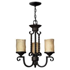 Casa Three Light Chandelier Hinkley Glass Shade Chandeliers Ceiling Lighting