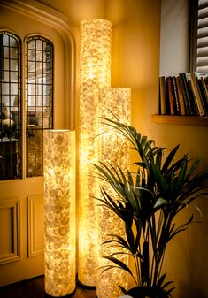 Handcrafted Mother of Pearl Floor Lamp Amroth Column Light Unique Lighting Tall Floor Lamps, Unique Floor Lamps, Gold Floor Lamp, Unique Lighting, Column Lights, Loft Style Apartments, Ceiling Shades, Interior Desing, Bedside Table Lamps