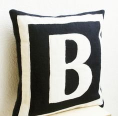 Initial Pillow Covers Personalized Monogram Throw Pillow Burlap Pillows Black Monogram