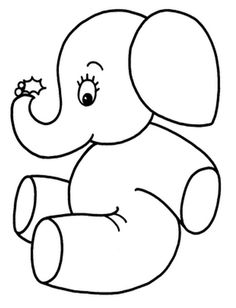 Cute Little Elephant Coloring Page