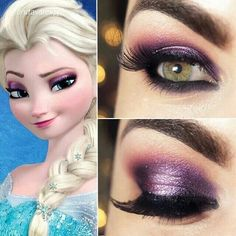 Tutorial inspirado na maquiagem da Elsa de Frozen. I don't care about the Elsa aspect, but it's another eye that's combining purple and gold/rust/red. So nice! I'd like something like this for the Christmas parties. Lr Beauty, All Things Beauty, Beauty Makeup, Beauty Hacks, Hair Makeup, Pink Makeup, Maquillage Halloween, Halloween Makeup, Disney Halloween