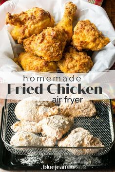 Make amazing homemade fried chicken in your air fryer! Using your air fryer to make buttermilk fried chicken lets you enjoy one of your favorite fried foods without all the guilt or the mess of deep-frying. With this easy recipe you can use chicken thighs, drumsticks, wings, boneless breast, tenders or any combo you like for delicious juicy fried chicken. Air Fryer Fried Chicken, Homemade Fried Chicken, Making Fried Chicken, Moist Chicken, Buttermilk Fried Chicken, Chef Recipes, Turkey Recipes, Appetizer Recipes, Chicken Recipes
