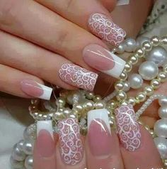 In this post, you can see the Funky French Nail Art Designs. Here I present the latest french nail designs see this and select best French Nail Art for you. Lace Nail Design, Lace Nail Art, Lace Nails, Wedding Nails Design, Nail Art Designs, Wedding Manicure, Nail Wedding, Wedding Guest Nail Art, Nail Designs For Weddings