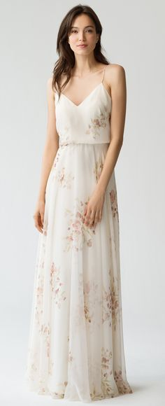 Inesse Bridesmaid Dress in Ivory Soft Rose Eden Bouquet Floral Print by Jenny Yoo #springwedding #summerwedding #pastels