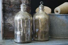 """for """"apothecary"""" powder room:  Mercury glass"""