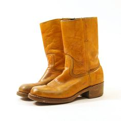 70s FRYE Cowboy Boots / Short Ankle Boots / Brown by nickiefrye, $108.00