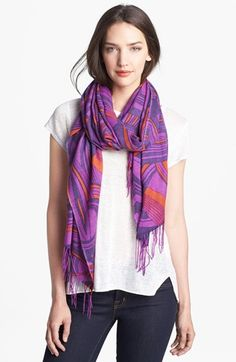 'Graphic Waves' Wool & Cashmere Scarf