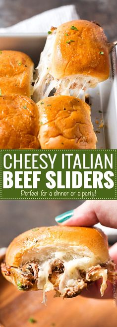 Baked Italian Beef Sliders - Slider buns are piled high with shredded Italian beef and gooey provolone cheese, brushed with melted garlic butter and baked until gooey and mouthwatering!