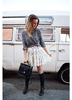 white lace skirt + wrapped cardigan cuuute