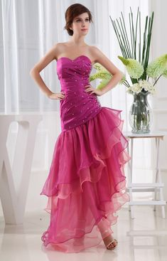 Hot Pink Short Strapless Prom Dress, Strapless Layered High Low Dress, Organza High Low Prom Dress