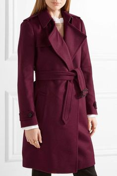 Burberry - Tempsford Cashmere Trench Coat - Crimson - UK10