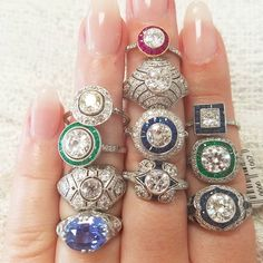 Which one do you want? It's hard to choose! Come check out our beautiful collection of engagement rings when we open on Tuesday! #estatejewelry #estatejewelryaustin #engagementring #ringstack #showmeyourrings #engagementringsaustin #antiquejewelryaustin #vintagejewelryaustin