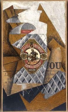 Juan Gris (José Victoriano González Pérez) - La bouteille d'anis (La botella de anís) Fecha:  1914 (junio) Técnica:  Óleo, collage y grafito sobre lienzo Dimensiones:  41,8 x 24 cm