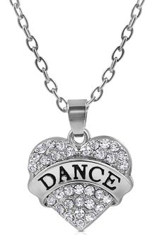 Small Silver Tone Clear Crystal Heart Shaped 'DANCE' Necklace for Girls, Teens, Women -- More info could be found at the image url.