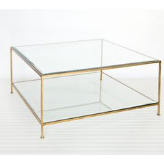 Worlds Away square coffee table with beveled glass - hammered gold leaf