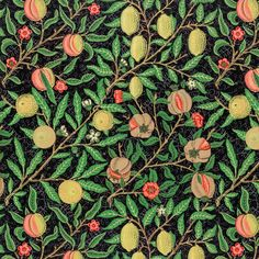 Vintage pomegranate and flowers on branches pattern illustration | premium image by rawpixel.com Granada, William Morris Patterns, Art Nouveau Pattern, Scrap, Bright Paintings, Art And Craft Design, Leaf Background, Fruit Pattern, Exhibition Poster