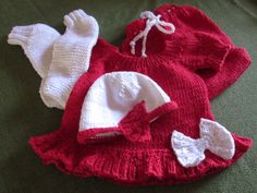 knitted little red dress, hat, stockings and diaper cover