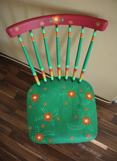 My first reconstruction chair - boho style - bohemian - flowers etc.