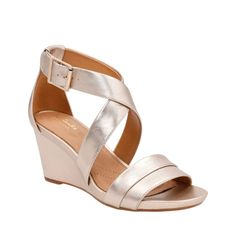 58411533e85 Acina Newport Gold Metallic Leather womens-sandals-wedge Leather Sandals