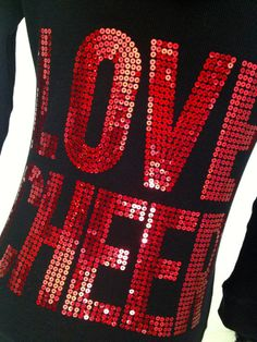 Red & Black Love Cheer Sequin Hoodie Jacket by Bowfriendz on Etsy, $34.99