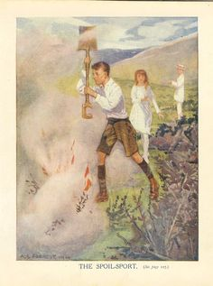 Young Man Extinguishes Fire On The Moors With Spade.