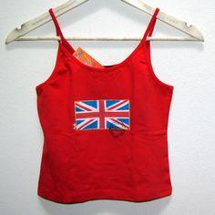 Tílko s britskou vlajkou - kvalitní tílko - 100% bavlna -základní barva červená, růžová, světle zelená ...dle dohody - ručně malované - britská vlajka, doplněno o originální razítko- Na objednávku zhotovím obdobné tílko cca do 2 týdnů - originál, který potěší Velikost S-M