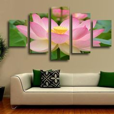 nice 5 panels lotus flower canvas art