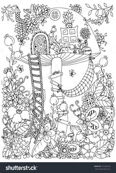 Vector illustration Zen Tangle, house of the fungus in the forest. Doodle flowers. Coloring book anti stress for adults. Coloring page. Black and white.