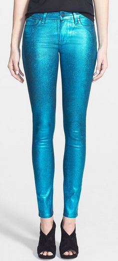 Paige Denim ultra skinny jeans in turquoise crackle - 40% off! http://rstyle.me/n/wayxvnyg6