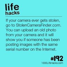The post – How To Find A Stolen Camera appeared first on 1000 Life Hacks.The post – How To Find A Stolen Camera appeared first on 1000 Life Hacks. Hack My Life, Simple Life Hacks, Useful Life Hacks, Awesome Life Hacks, Tech Hacks, Hacks Diy, 1000 Lifehacks, Tips & Tricks, School Hacks