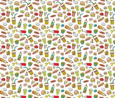 Fun hamburger milshake and fries fabric by littlesmilemakers on Spoonflower - custom fabric