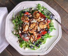 Barbells and Bellinis: Grilled Shrimp and Watermelon Salad with Arugula, Blueberries, Feta and Balsamic Glaze Halloumi, Veggie Recipes, Healthy Recipes, Veggie Meals, Blueberry Salad, Watermelon Salad, Balsamic Glaze, Seafood Dinner, Kitchens