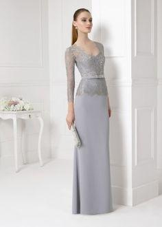 Floor-Length Illusion Sleeve Appliqued V-Neck Jersey Prom Dress - June Bridals Gala Dresses, Prom Dresses Online, Prom Dresses Blue, Cheap Prom Dresses, Evening Outfits, Evening Dresses, Satin Formal Dress, Mom Dress, Lace Dress