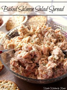Baked Salmon Salad Spread is so versatile you can use it as an appetizer spread with crackers, or you can use it as a spread for sandwiches. – Kudos Kitchen by Renee – kudoskitchenbyren… Leftover Salmon Recipes, Canned Salmon Recipes, Salmon Salad Recipes, Leftovers Recipes, Fish Recipes, Seafood Recipes, Appetizer Recipes, Appetizers, Canned Salmon Salad