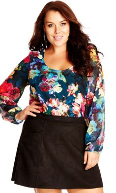 Plus Size Bright Bloom Printed Plus Size Top in lipstick at City Chic | citychiconline.com