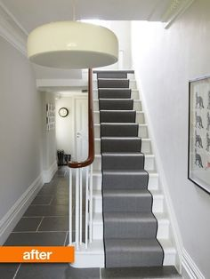 like the stair runner and the grey tiles - would they work? Grey Hallway, Tiled Hallway, Hallway Flooring, Tile Flooring, Hall Tiles, Victorian Hallway, White Wall Paint, Grey Paint, Escalier Design