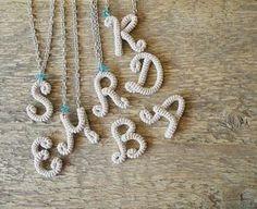 Crochet Monogram Necklace Crochet Initial Necklace