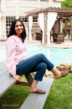 Pink gingham cottage core top and mom jeans with mules for a casual summer mom outfit. Modest Summer Outfits, Summer Outfits For Moms, Mom Outfits, Casual Summer, Spring Outfits, Women's Jeans, Mom Jeans, Dressy Flats, Warm Weather Outfits