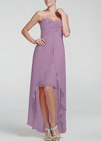 Strapless High Low Dress with Split Front Detail --This looked great on my MOH! It feels elegant and love how it moves. Perfect for beach wedding :D