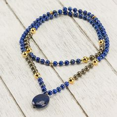 Sincerity Mala Elastic Thread, Third Eye, Lapis Lazuli, Beaded Necklace, In This Moment, Stone, Pendant, Gold, Jewelry