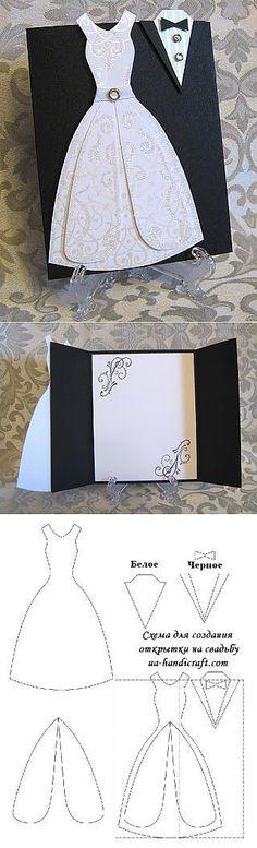 New Wedding Card Craft Ideas Wedding Anniversary Cards, Wedding Cards, Invitation Cards, Wedding Invitations, Wedding Stationery, Karten Diy, Dress Card, Pop Up Cards, Card Tutorials