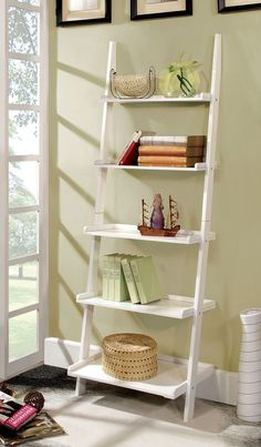 "Ladder Shelf In White -Ac6213Wh $77 This unique ladder style accent piece has five shelves for display. Choose from either cherry, white, or black fi nish.  WHITE LADDER SHELF [CM-AC6213WH]  25""W X 18""D X 72""H  Contemporary Style  5-tier Ladder Shelf  Solid Wood, Wood Veneer & Others*  Available in 3 Colors"