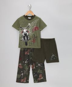 Take a look at this Pistachio Biker Tour Pajama Set - Boys by Komar Kids on #zulily today!